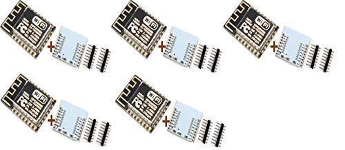 TECNOIOT 5pcs ESP-12F ESP12F ESP8266 Serial WiFi Module (Upgrade ESP-12) +Plate Expansion