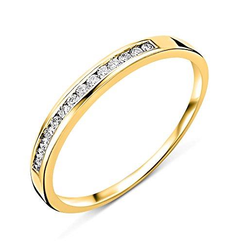 Miore Diamant Ring für Damen Ewigkeitsring aus 18 Karat/ 750 Gelbgold mit Diamanten Brillanten 0.10 Ct, Schmuck (52 (16.6))