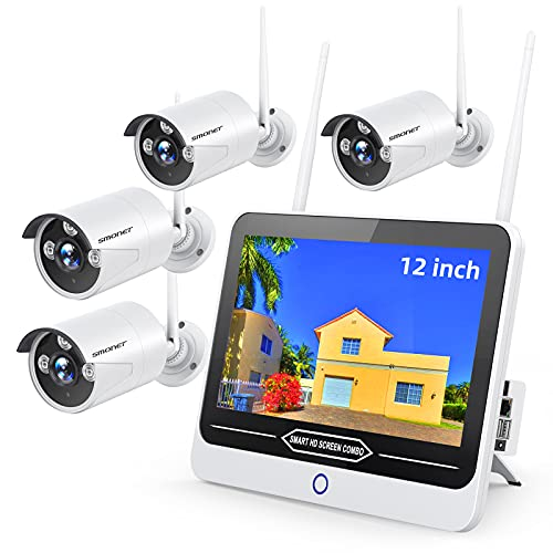 """All-in-One 3MP Wireless Security Camera System with 12"""" Monitor 2TB Hard Drive,Clearer Than 1080P,SMONET 8 Channel Home CCTV Surveillance NVR Systems,4pcs 3MP Indoor Outdoor IP Cameras,Night Vision"""