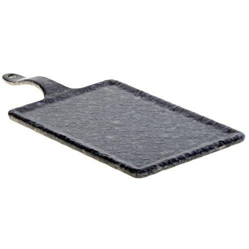 TableCraft Planche de Service en mélaminé avec Motif marbre Noir, 36 cm x 18 cm x 1 cm