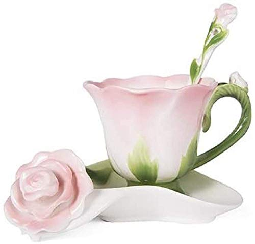 KAIXIN Forma De Rosa 3D, Taza De Café De Cerámica, Juego De Té De Café De Porcelana De Hueso, Taza De Café De Diseño, Personalizado, con Cuchara-150 Ml