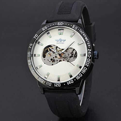 GSERA Reloj Reloj Hueco para Hombre Reloj Mecánico Automático con Correa De Reloj De Goma Ajustable