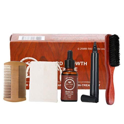 iuNWjvDU Kit de Aseo Cuidado de la Barba Crecimiento de la Barba del Recorte de Pelo Conjunto Barba Peine Cepillo Estimular Crecimiento de la Barba con sándalo Regalo Aceite Barba Hombres de Belleza