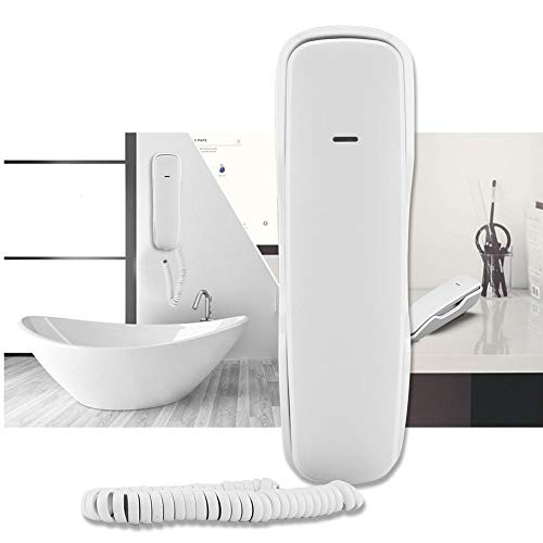 Rosvola Mini Schnurlostelefon Noise Cancelling Wandtelefone Festnetztelefon mit Halterung Home Hotel Wired Desktop Wall Phone(Weiß)