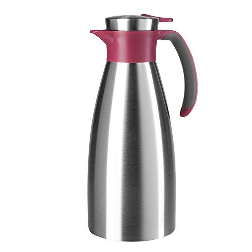 Emsa 514501 Isolierkanne, Edelstahl, 1.5 Liter, Quick Tip Verschluss, 100% dicht, Himbeer, Soft Grip
