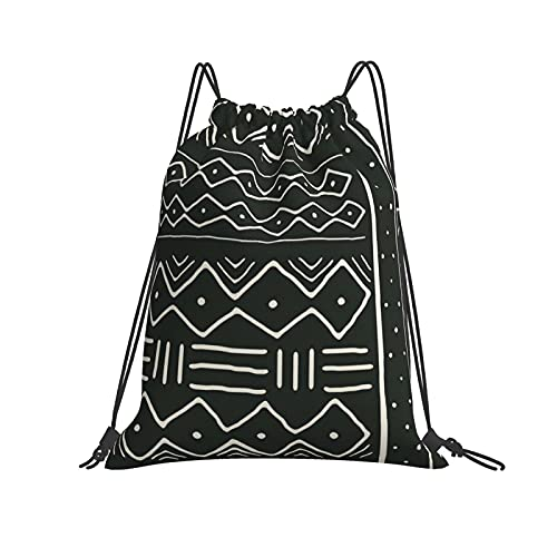 Dhxeqok Mochila con cordón Deportes Sackpack Mudcloth in Bone On Black Cinch Bolsa de playa resistente al agua para Gym Sport Yoga