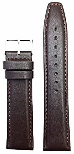 22mm Brown Genuine Leather Watch Band | Soft, Comfortable Padded Replacement Wrist Strap that brings New Life to Any Watch (Mens Length)