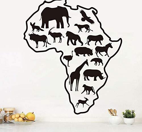 Afrikaanse Safari Dieren Behang Woonkamer Afrika Kaart Verwijderbare Zelfklevende Zelfklevende Vinyl Kunst Sticker Behang 68X58Cm
