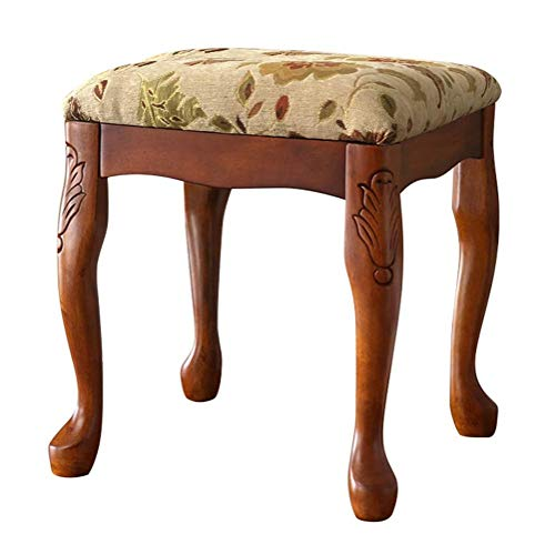 JJSFJH Klavier Bänke Klavier Hocker Keyboardbank Holz Backless Vanity Hocker, Make-Up Dressing Stuhl mit Hevea Beine, Padded Schlafzimmer Bench, Braun (Color : A)