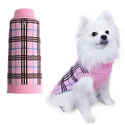 Dog Sweater Plaid Winter Clothes for Dogs Puppy Boys Girls Pink Medium