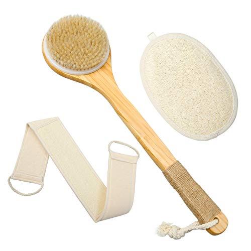 ZITFRI Luffaschwamm Rückenschrubber Rückenbürste mit Langem Stiel 3 in 1 Set Badeschwamm, 70cm Rücken Gurt, Badebürste für Körperpeeling, Rückenmassage und...