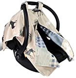 Dear Baby Gear Deluxe Reversible Car Seat Canopy, Custom Minky Print, Faux Quilt Grey Tan Adventure and Grey Moose on Tan