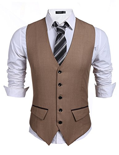 Burlady Herren Weste Anzugweste V-Ausschnitt Ärmellose Basic Slim fit Western Weste V Ausschnitt Elegent Anzug Business Hochzeit