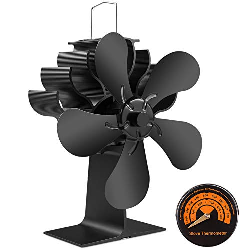 PYBBO Wood Burning Stove Fireplace Fan Improved Silent Motors Heat Powered Eco Stove Fan for Gas/Pellet/Wood/Log Stoves with Magnetic Thermometer
