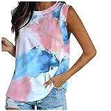 Bilbull Camiseta de tirantes para mujer, cuello redondo, monocolor, sin mangas, elegante, sexy, con cuello en V, azul, XXL