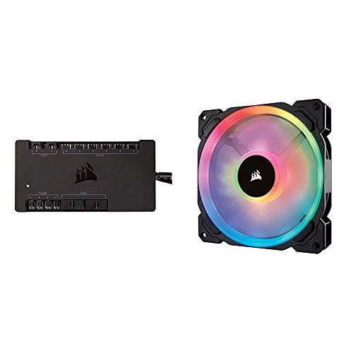 Corsair Commander Pro - Controlador de iluminación RGB y Ventilador Digital + LL140 RGB Ventilador de PC (140 mm, Doble Halo RGB LED PWM) Paquete Soltero