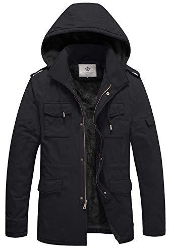 WenVen Men's Winter Warm Front Zip Jacket Classic Hooded Outwear Grey L