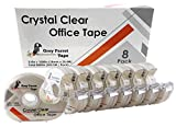 """Greyparrot Office Clear Office Refill Tape Rolls + Dispenser(8 Pack),(3/4"""" X 1000in/pack). for Craft Jobs, Gift Wrapping, Office Work Clear(Transparent) Glossy Finish, Refillable (8000 inch/Total)"""
