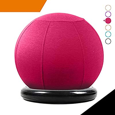 Sport Shiny Balance Ball Chair Pro,Flexible Seating Set,Stability Yoga Ball with Machine Washable Slipcover,Ring Base Kit,Ergonomic Exercise Ball Chair,65cm Size,Red,Quick Air Pump Included