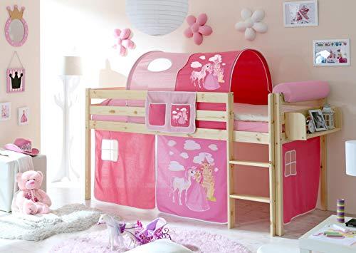 lifestyle4living Hochbett für Kinder in pink-braun mit Leiter, Vorhang im Prinzessin Motiv   Spielbett aus Kiefer Massivholz mit Einer Liegefläche 90x200 cm