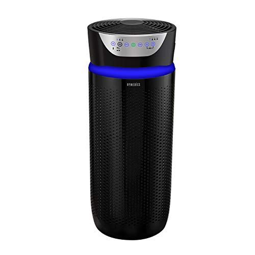Homedics TotalClean Deluxe 5-in-1 Tower Air Purifier, UV-C Light for Home, Office, 360-Degree True HEPA Filtration, Air Quality Particle Sensor, Extra Large Room Odor Reducer, Aromatherapy, Black