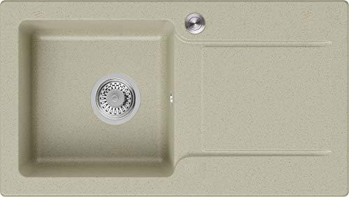 Granitspüle Beige 78 x 44 cm, Spülbecken + Siphon Pop-Up, Küchenspüle ab 45er Unterschrank, Einbauspüle San Francisco von Primagran