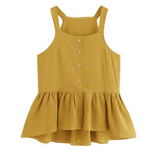 only storerine 2019 Damenhemd, lässig ärmellos geschnittenes einreihiges gekräuseltes, glamouröses Oberteil