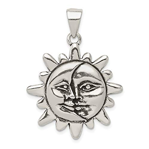 Saris and Things 925 Sterling Silber Antiqued Sonne und halbmond-Gesicht anhänger in Form von