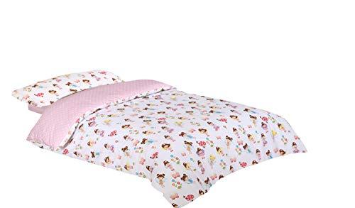 Montse Interiors - Bettwäsche-Set für Kinder, für 90 cm Bett | Bettwäsche für Mädchen - Deckenbezug 150 x 270 cm, Kissenhülle 110 x 45 cm, Spannbettlaken 90 x 195 cm, Feen-Muster, Rosa