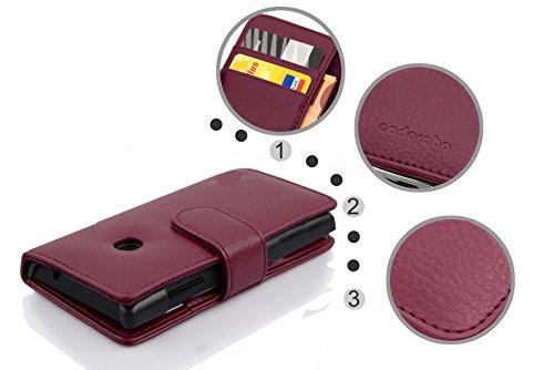 Cadorabo Hülle für Huawei Ascend Y330 - Hülle in Bordeaux LILA – Handyhülle mit Kartenfach aus struktriertem Kunstleder - Case Cover Schutzhülle Etui Tasche Book Klapp Style - 5
