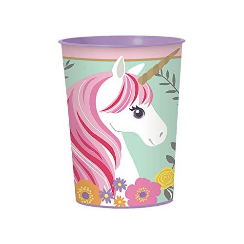 amscan 10119857 421929 - Becher Magical Unicorn, Füllmenge 473 ml, wiederverwendbar, Einhorn, Partybecher, Geburtstag