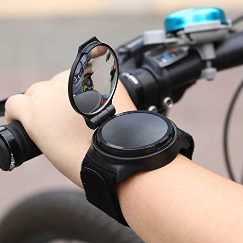 UNIVERSESTAR Bike Mirror, Adjustable 360 Rotation Wrist Wear Bike Rearview Mirror for Cyclists Mountain Road Riding Cycling Electric Scooter Accessories