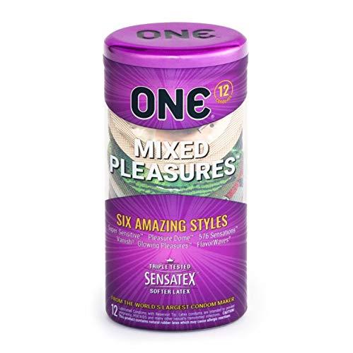 Mixed Pleasures 5 Premium Styles Lubricated Latex Condoms-12 Count