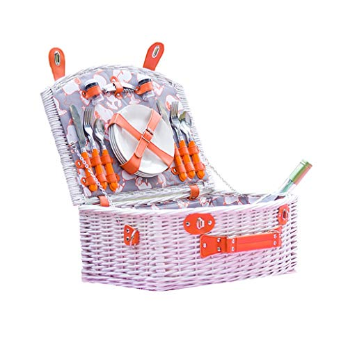 Sac à pique-nique Panier en pique-nique en osier Boîte à pique-nique avec pique-nique en plein air Panier à emporter avec panier de rangement occidental (Color : Orange)