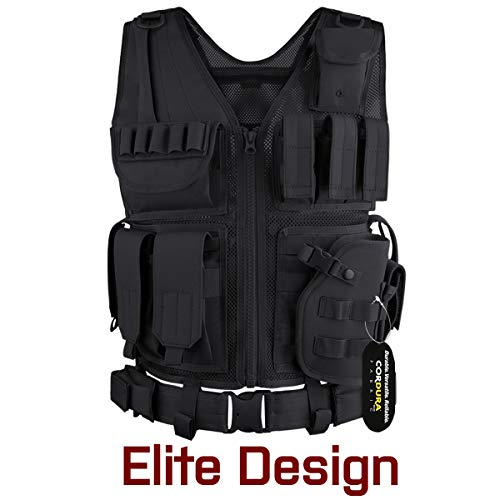 GLORYFIRE Tactical Vest Airsoft Tactical Vest 1000D Cordura Fabric Detachable Pistol Holster for Adult Adjustable Lightweight Breathable Training Combat Vest
