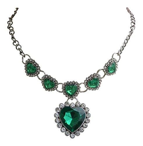 Trachtenschmuck Dirndl Kristall Herz Collier - Trachtenkette 6 Herzen Smaragd grün - Crystal klar