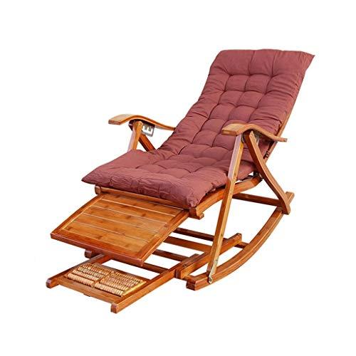 WFFF Mecedora de bambú, sillón reclinable Siesta Ajustable con pies de Masaje, para balcón/Playa, Silla Mecedora de bambú de Ocio