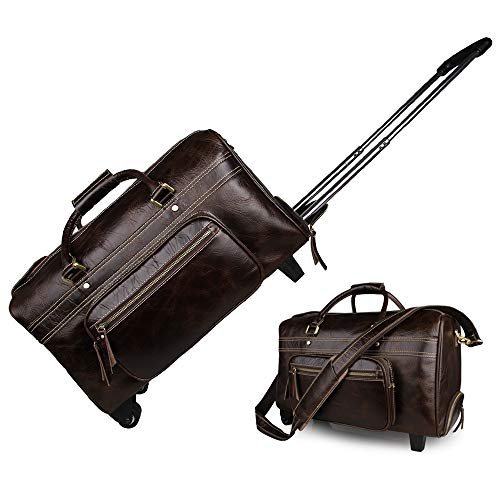 Luggage Leather Trolley Bag, Wheeled Travel Duffel Bag, Waterproof Duffle Bags for Men, Large-Capacity Travel Garment Bags, Best Weekend Bag