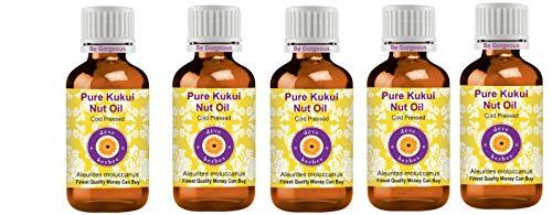 Deve Herbes Aceite de nuez de Kukui puro (Aleurites moluccanus) 100% natural de grado terapéutico prensado en frío para cuidado personal (paquete de cinco) 100 ml x 5 (16.5 oz)