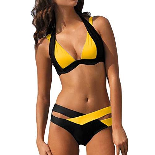 DIPOLA Damen tupfen-badeanzug push-ups strand-badebekleidung bikini groesse dotbikini hohe taillen-bikini m j-gelb