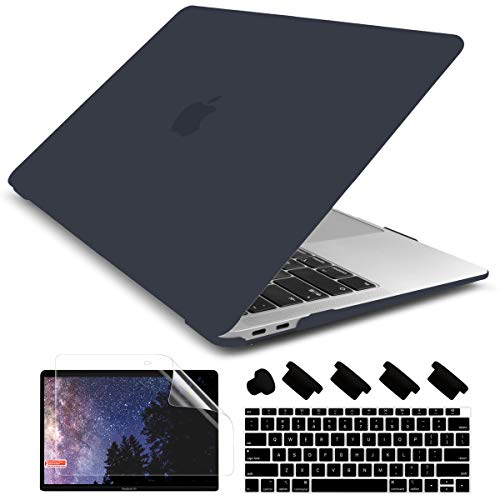 Dongke New MacBook Air 13 inch Case 2020 2019 2018 Release Model: A2179/A1932, Rubberized Frosted Matte See Through Hard Case Cover for MacBook Air 13.3 inch with Retina Display Touch ID - Black