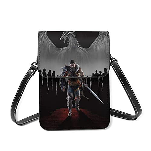 XCNGG Monedero pequeño para teléfono celular Dragon Age Cell Phone Purse Small Crossbody Bag Women Leather Mini Cell Phone Pouch Shoulder Bag to Carry Dexterous Convenience with Adjustable Strap Walle