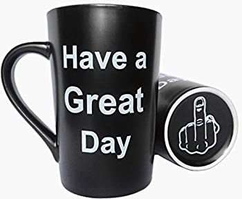 MAUAG Funny Christmas Gifts Unique Coffee Mugs Have a Great Day Cute Cool Ceramic Cup Black Best Holiday and Birthday Gag Gifts 12 Oz