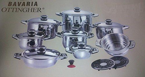 Corredocasa Batteria PENTOLE Professional 18 Pz. Acciaio Inox 18/10 T304 Bavaria OTTINGHER Serie DIETETIC