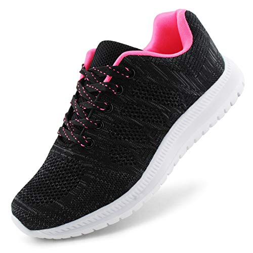 JABASIC Women Lightweight Knit Running Shoes Athletic Walking Sneakers (9,Black/Fuchsia)