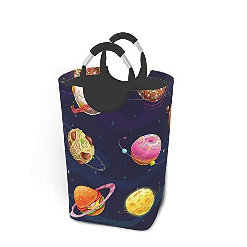 Bxfdc Cesta de lavandería de Dibujos Animados Fantasy Food Planet Cesto de lavandería Papelera de Lavado Plegable Cesta de Almacenamiento Impermeable para niños con Asas 50 L