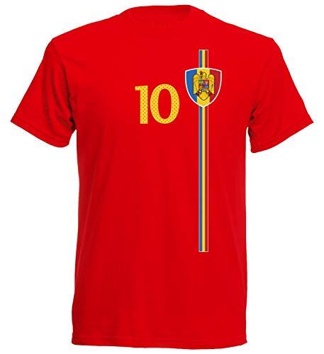 Rumänien România Herren T-Shirt Nummer 9 Trikot Fußball Mini EM 2016 T-Shirt - S M L XL XXL - rot NC ST-1 (L)