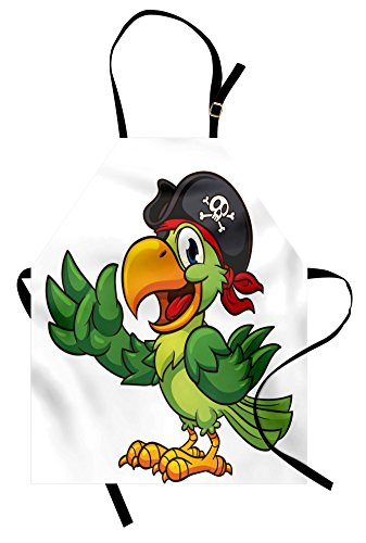 Lunarable Pirate Apron, Cartoon Parrot with Pirate Hat Eye Patch Waving Hand Gesture Cute Funny Character, Unisex Kitchen Bib with Adjustable Neck for Cooking Gardening, Adult Size, Green White