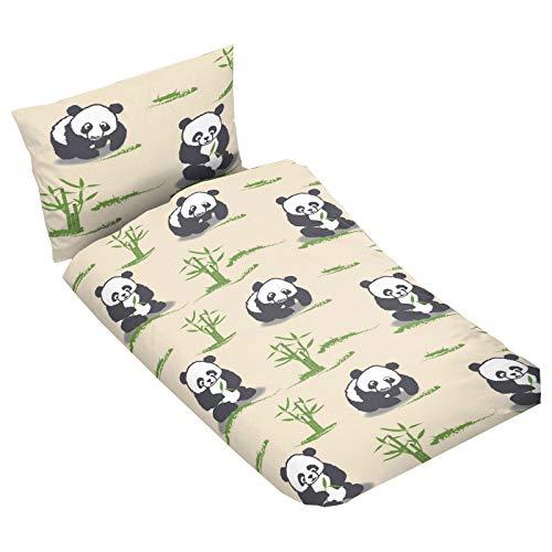 Casa Colori Parure de lit 2 pièces pour enfant avec housse de couette 100 x 135 cm et taie d'oreiller 40 x 60 cm Beige avec panda