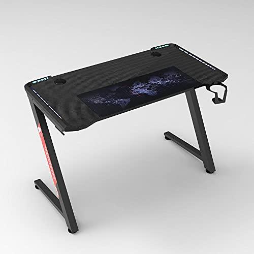 Escritorio Juegos con Luces LED Escritorios de PC, Escritorio para Mesa de Juego en Forma Z con Soporte Taza y Gancho Auriculares Negro-Negro_140 * 60